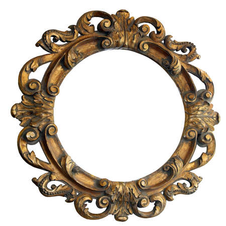mirror frame: Handmade big engraved wooden frame mirror isolated  Stock Photo