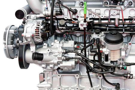 Close up shot of diesel truck engine  photo