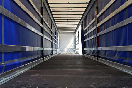 semi trailer: Interior view of empty semi truck lorry