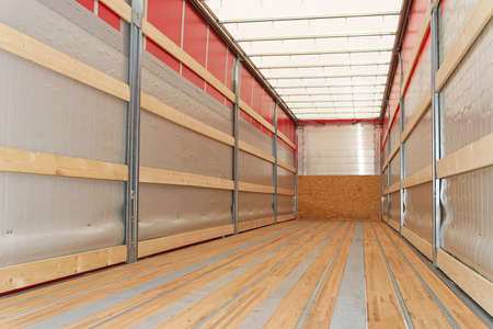 Interior view of empty semi truck trailer Stock Photo