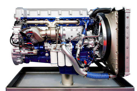 turbo: Big turbo truck engine in blue isolated