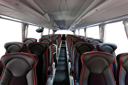 asiento: Interior de las grandes entrenador de autobuses con asientos de cuero Foto de archivo