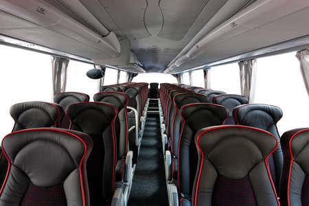 Interior of big coach bus with leather seats