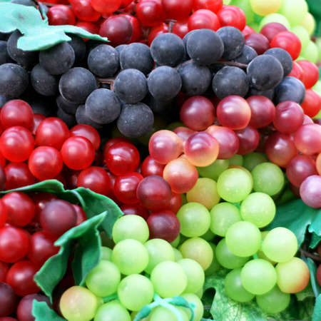 wine grapes: Three kinds of grapes fruit close up Stock Photo