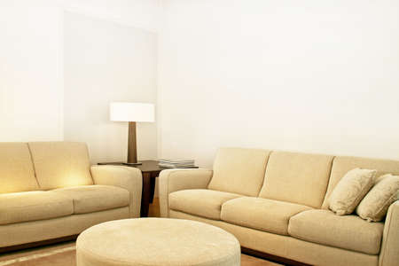 Living room with two beige textile sofas Stock Photo - 3706221