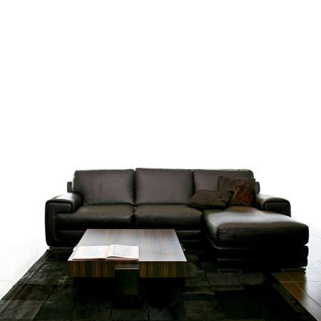 Big black leather sofa isolated on white Stock Photo - 3706227