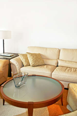 Detail shot of leather sofa with pillows Stock Photo - 3706228