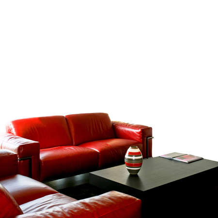 Living room with red sitting area isolated Stock Photo - 3706226