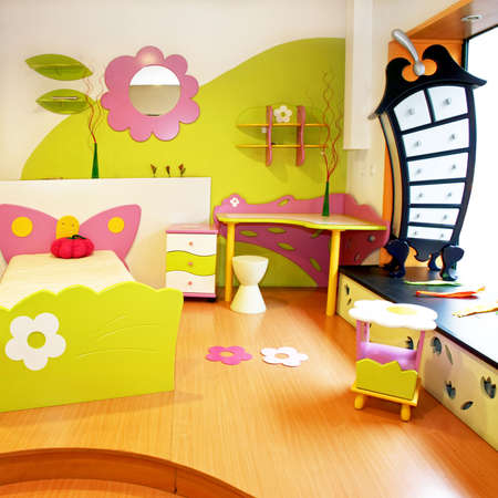 bed room: Interior of children room with colorful furniture Stock Photo