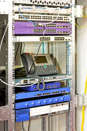 Internet communication company tower with network hubs photo