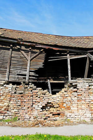 Collapsed roof at house after strong earthquake disaster photo