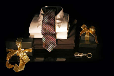 decorative accessories: Men shirt with silk tie and gift boxes Stock Photo