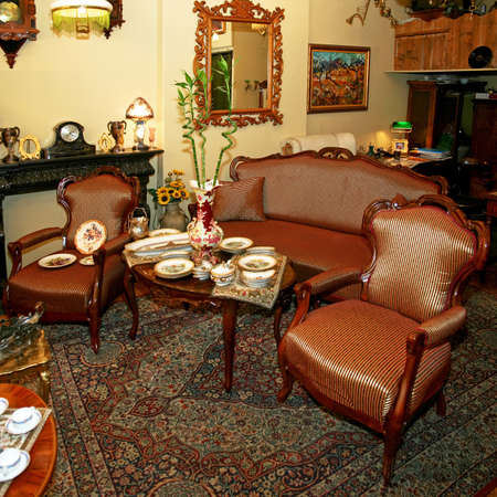 furniture store: Interior shot of very old antique shop