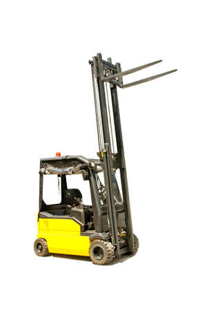 Yellow industrial fork lifter for cargo transport  photo