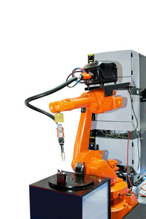 automate: Orange robot arm for industry isolated on white