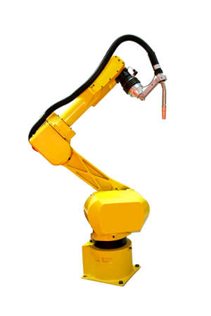 Yellow automatic robot welder for metal industry Stock Photo