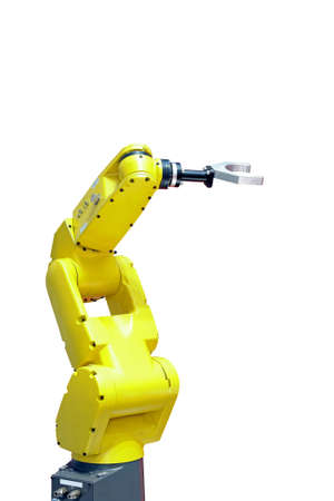 automate: Yellow robotic arm for industry isolated on white Stock Photo