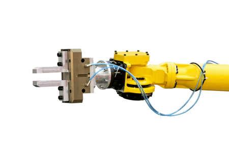 mano robotica: Cierre de tiro de cabeza amarilla rob�tico aisladas