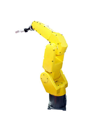 Yellow robotic arm for industry isolated with clipping path Stock Photo