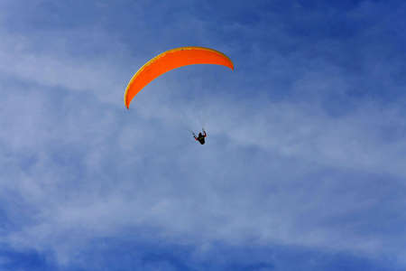paraglide: Close up shot of orange paraglide canopy Stock Photo