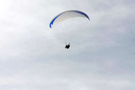 paraglide: Close up shot of white paraglide canopy