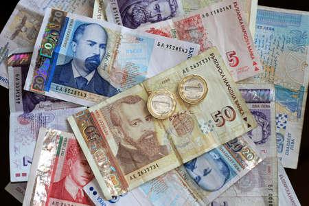 Close up shot of Bulgarian Lev money banknotes Stock fotó