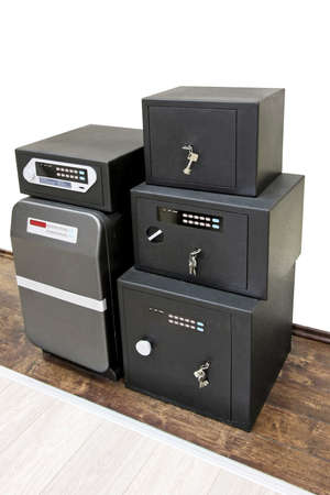 Angle shot of bunch black safe boxes photo