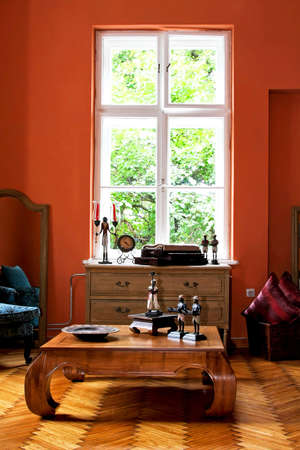 Interior of explorer home in terracotta color Stock Photo
