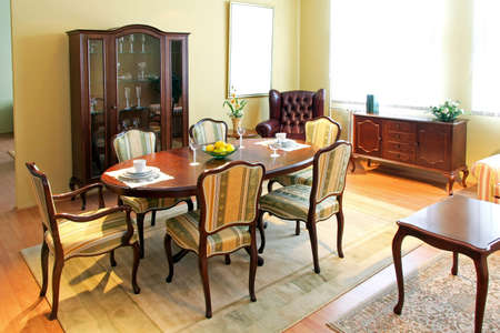 Wooden furniture in classic style dining room