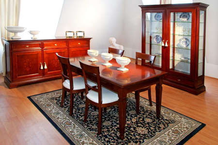 Wooden furniture in vintage style dining room