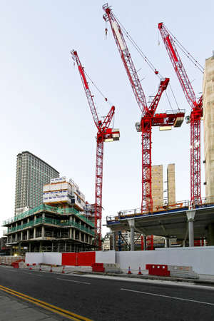 Tree tall red cranes and construction site Stock Photo - 4338042