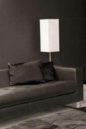 dark interior: Dark interior with black sofa and white lamp Stock Photo