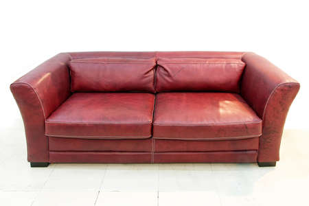 Contemporary leather sofa in burgundy red color Stock Photo - 4347722