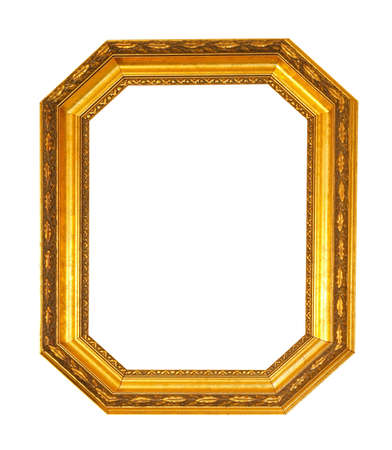 octagonal: Marco octogonal en oro el camino del truncamiento incluido Foto de archivo