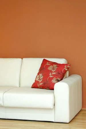 Close up shot of white leather sofa Stock Photo - 4347735