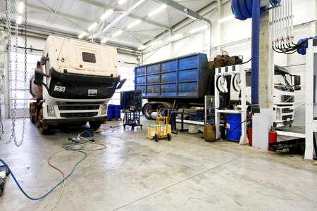 Interior shot of big truck service garage Stock Photo - 4387632