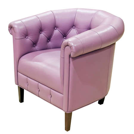 upholster: Purple leather armchair isolated including path Stock Photo