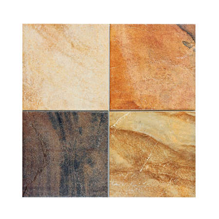 Four marble tiles samples in different colors