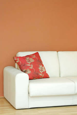 Close up shot of white leather sofa Stock Photo - 4432257