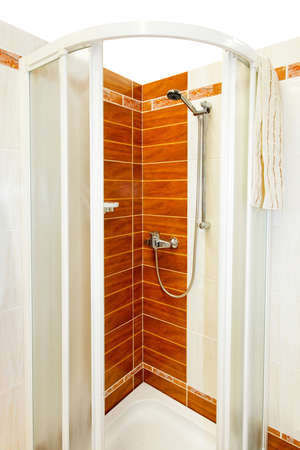 Interior of shower cabin with brown tiles Stock Photo - 4432260