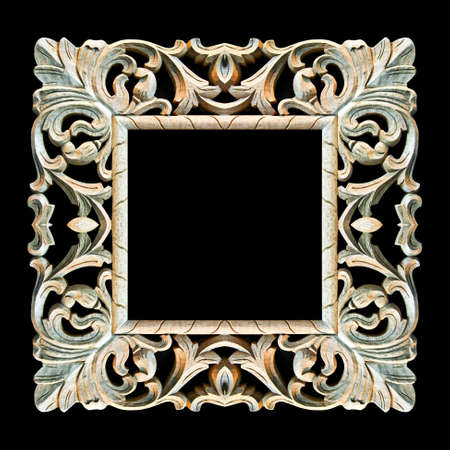 mirror frame: Old square wood frame isolated on black