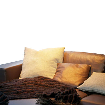 settee: Bunch of pillows and blanket at leather settee Stock Photo