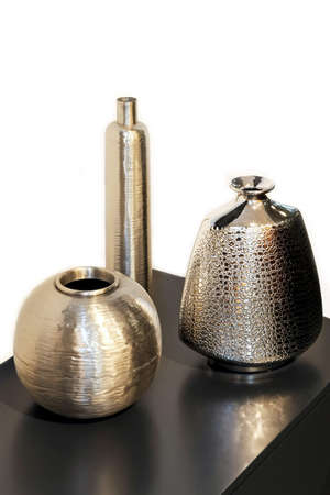 Three Silver Metal Vases In Different Shapes Stock Photo Picture