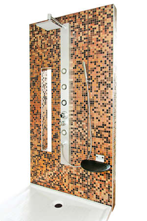 Modern shower with gold color tiles isolated Stock Photo - 4499959