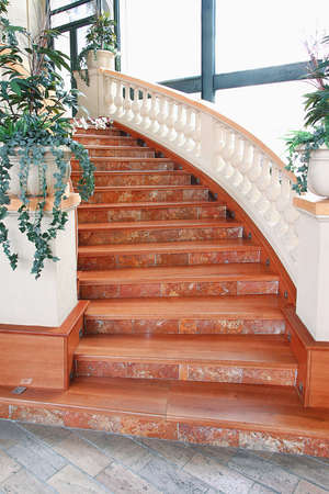 Close up shot of red marble stairs photo