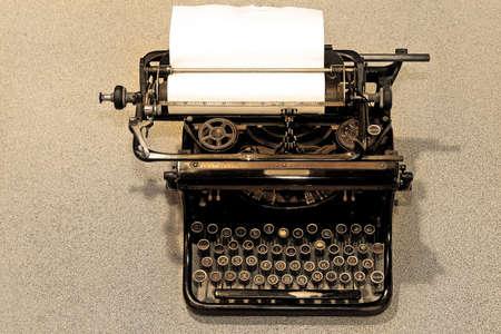analogue: Close up shot of old black typewriter