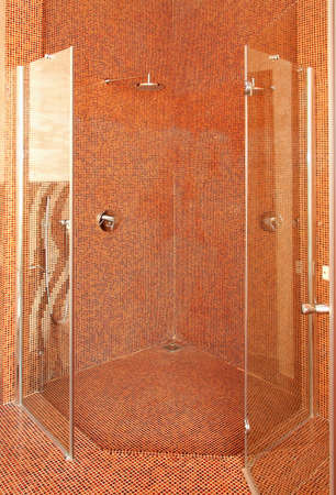 Interior shot of big shower with contemporary tiles Stock Photo - 4677825