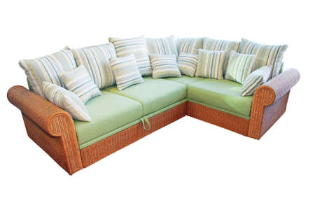 settee: Wicker corner settee isolated included path
