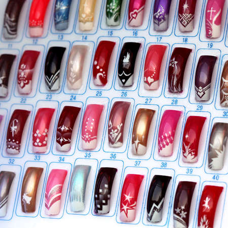 Big collection of finger nails in various color
