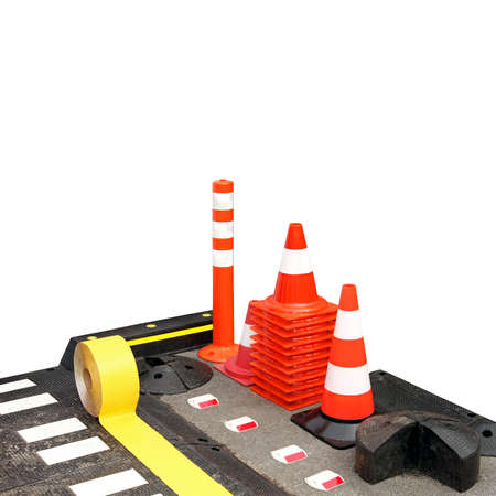 Warning reflective road signs cones and poles Stock Photo - 4710224